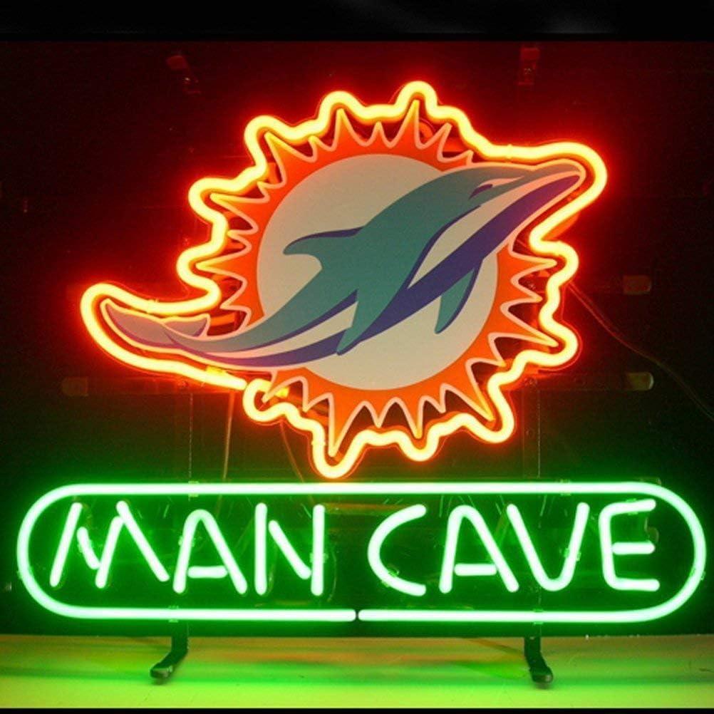 "Queen Sense 14""x10"" Miami Dolphin Man Cave Neon Sign Light Beer Bar Pub Real Glass Lamp DE41"
