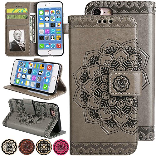 iPhone 7/iPhone 8 Flip Cell Phone Case Cover [Kickstand][3D Relief Flower] 4.7inch Apple iPhone8 Folio Magnetic Wallet Leather Case with Card Holder Slot for iPhone 8 Case – Grey -
