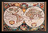 Pyramid America World Map 17th Century Framed Poster 20x14 inch