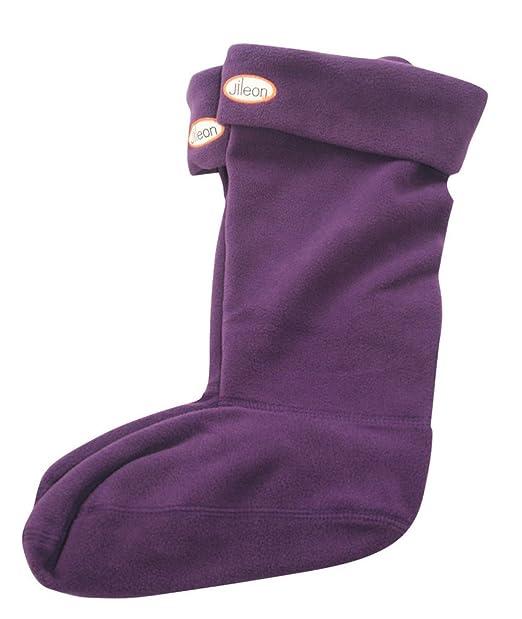 Calcetines con forma de bota de cálido forro polar para mujer Morado ciruela Medium