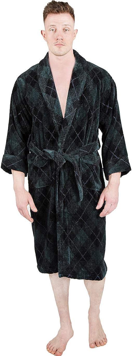 HONI Mens Bathrobe Terry Cloth Spa Robe Plaid Cotton Comfy Absorbent
