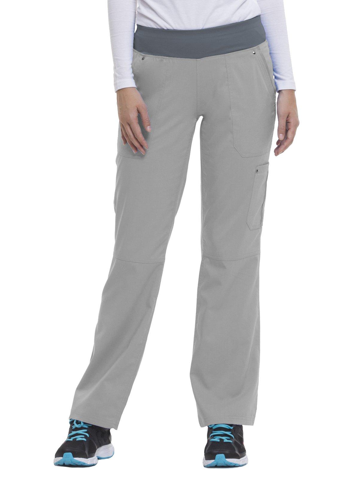 Purple Label by Healing Hands Scrubs Women's Tori 9133 5 Pocket Knit Waist Pant Grey/Pewter- X-Large Petite