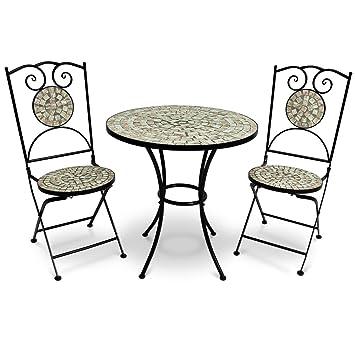 Salon de jardin Mosaique Bilbao - 1 Table 2 Chaises - Convient ...