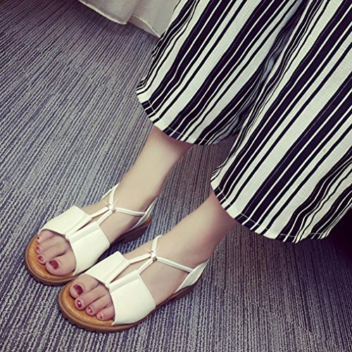 Sandalias de las mujeres, Amlaiworld Zapatos de señora Bohemia planas blanco