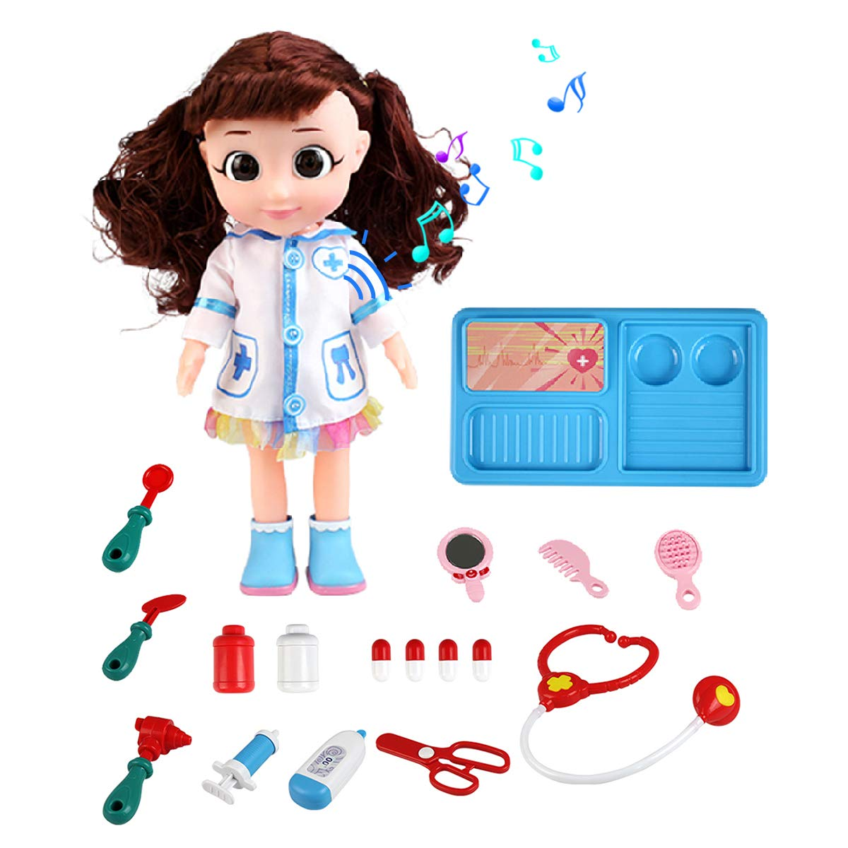 Pickwoo Kids Doctor Kit with Electronic Talking Doll Medical Supplies Playset Pretend Role Play Set 18 Pieces Nurse Instruments Interactive Toys Gift for Girls Boys Toddlers
