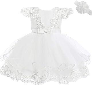 Abiti da Battesimo Neonato Vestito da Cerimonia Nuziale del Ricamo del Merletto della Principessa di Nozze Compleanno Battesimo Abito per Neonata