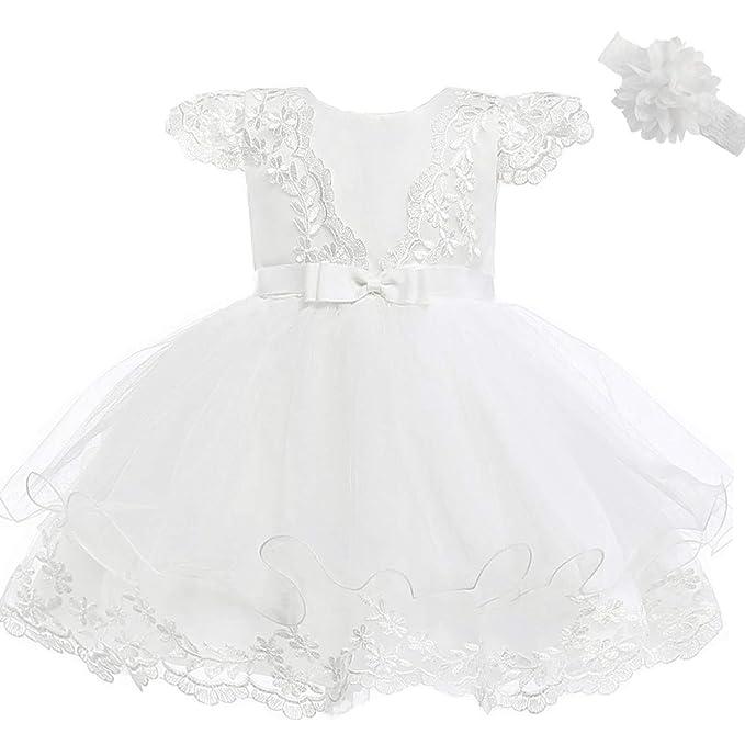 Fancy Luu Vestidos de Bautizo de la Niña Vestido de la Flor del Bordado del Cordón