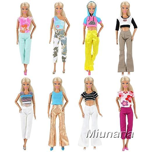 Amazon.es: Miunana 5x Ropas con Camiseta y Pantalones Hecha a mano Vestir Casual como Regalo para 11.5 pulgadas Muñeca Barbie Doll: Juguetes y juegos
