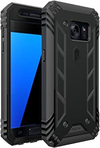 Poetic Galaxy S7 Case, Revolution Series [Premium Rugged][Shock Absorption & Dust Resistant] Complete Protection Hybrid Case w/Built-in Screen Protector for Samsung Galaxy S7 (2016) Black