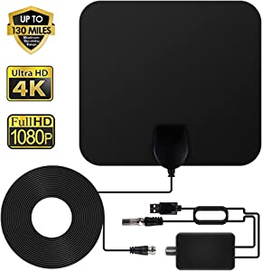 TV Antenna - ANEAR HDTV Antenna Support 4K 1080P, 80 to 130 Miles Range Digital Antenna, VHF UHF Freeview Channels Antenna with Amplifier Signal Booster, 16.5 Ft Longer Coaxial Cable, Black