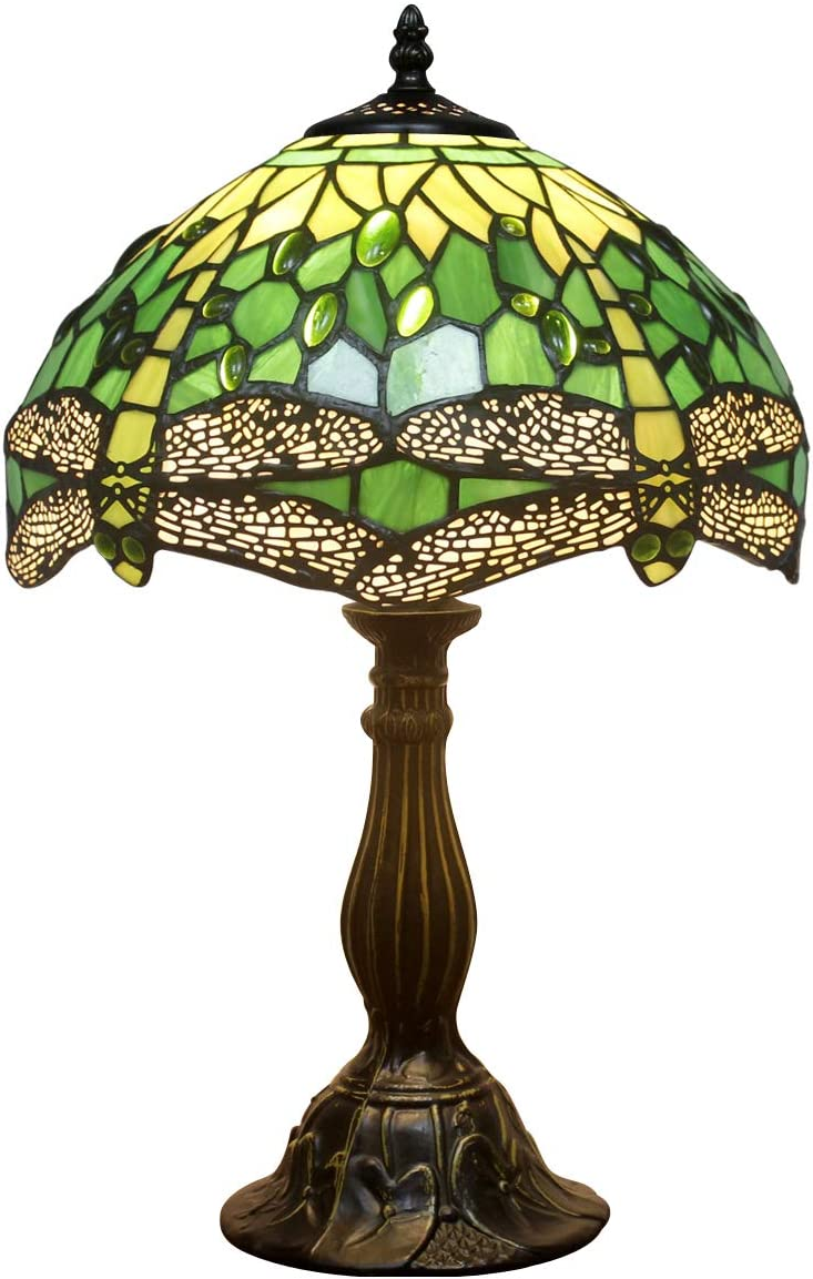 Tiffany Lamp Green Stained Glass and Crystal Bead Dragonfly Style Table Lamps Height 18 Inch for Coffee Table Living Room Antique Desk Beside Bedroom S459 WERFACTORY