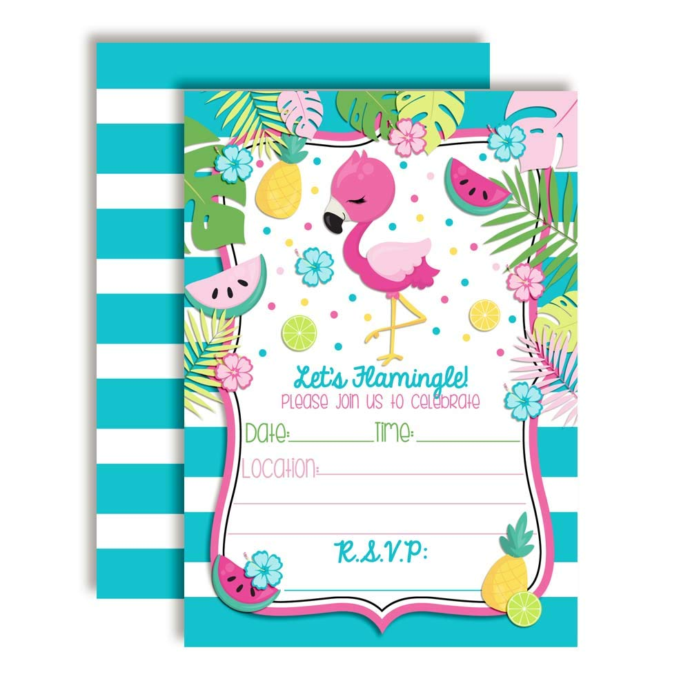 Tropical Pink Flamingo with Fruit Birthday Party Invitations 20 5x7 Fill in Cards with Twenty White Envelopes by AmandaCreation
