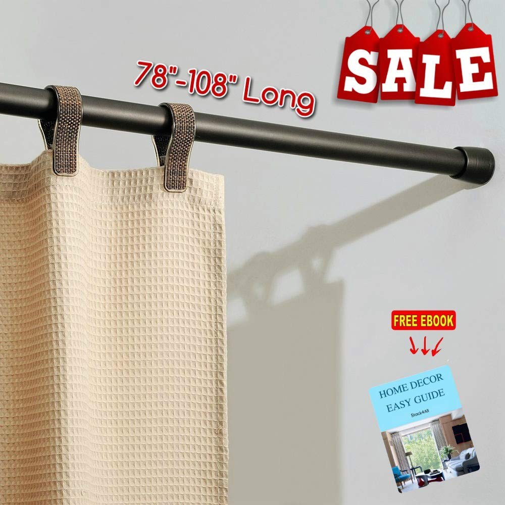 "RV Expandable Shower Curtain Rod 78""-108'' Long Twist to Extend Strong Durable Non Slip Foots Perfect for RV and Home, Modern Tools and Accessories (Bronze) & Free Ebook by Stock4All"