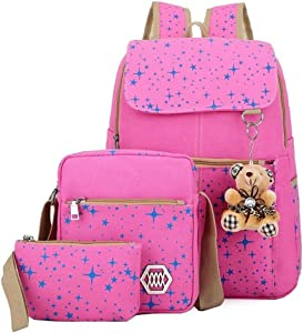 ZOUYO Girls' Canvas Backpack Set 3 Pieces Patterned Bookbag Laptop School Backpack (Pink)