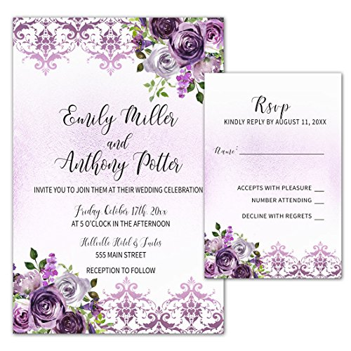 150 Wedding Invitations Purple Plum Lavender Damask Floral Design + Envelopes + Response Cards Set