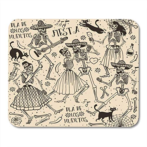 Deeoor Mouse Pads Red Halloween Skeletons Dia De Los Muertos The Dance Day Dead Mexican Mouse pad 9.5