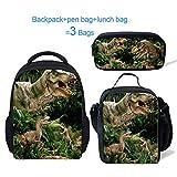 ThiKin Preschool Children Dinosaur Backpack and Lunch Bag Pen Bag Large Capacity