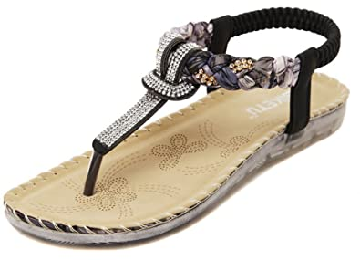 42c76e3e038 JiYe Beach Shoes Women s Casual Wear Rhinestone Sandals Diamond Summer Shoes