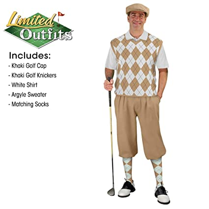 4d11187dab6958 Golf Knickers Sweater Golf Outfits - Mens - Khaki White - Size: 28 / Large