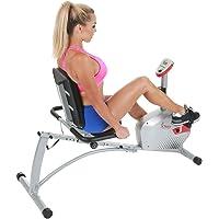 Sunny Health & Fitness Bicicleta de Ejercicios Bicicleta Reclinada Magnética, Capacidad de 135 kgs, Monitor, Monitor de Pulso Cardiaco - SF-RB4417