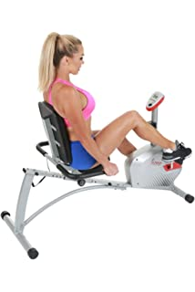 Sunny Health & Fitness Magnetic Recumbent Bike Exercise Bike, 300lb Capacity, Monitor, Pulse