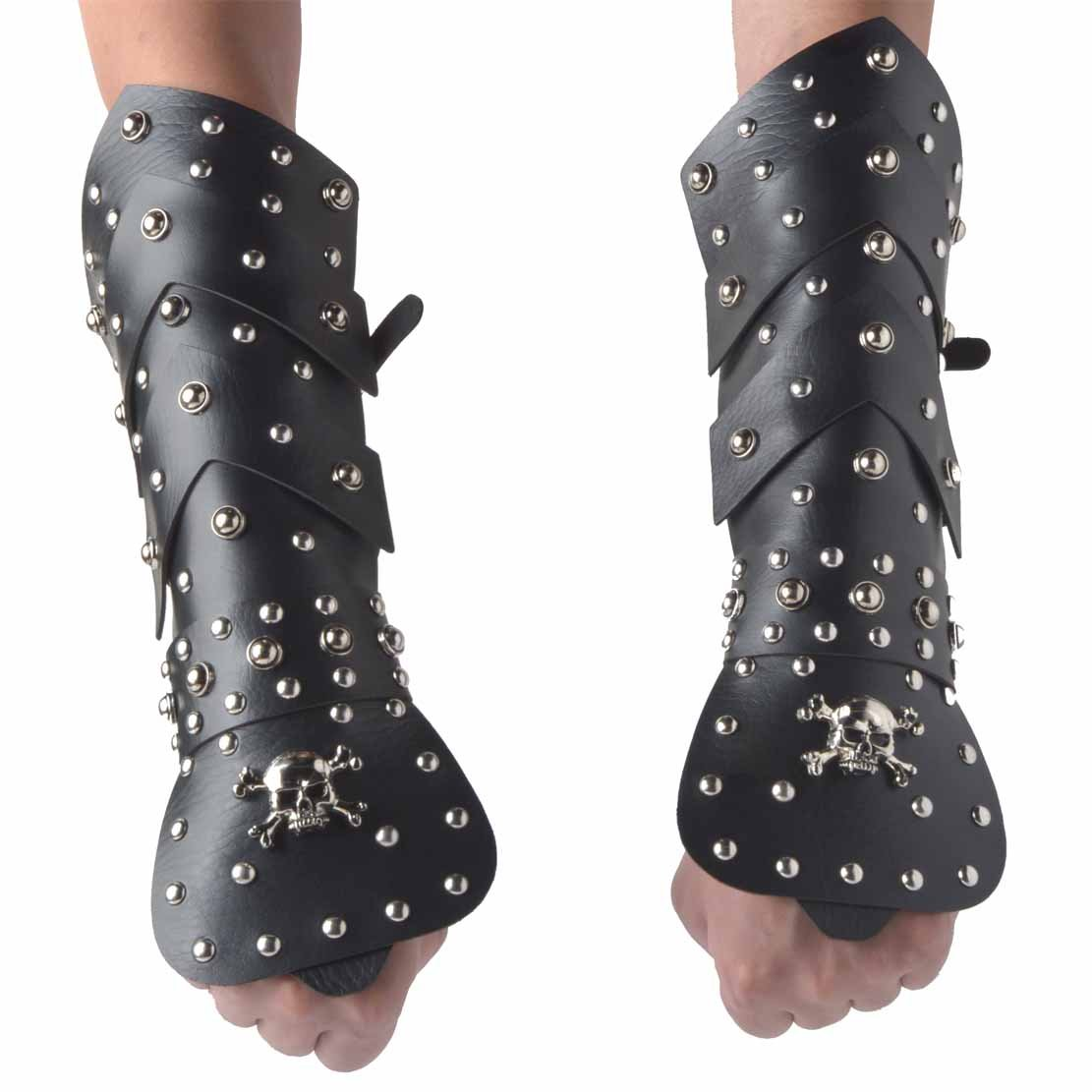 HZMAN 2PACK Black Leather Martial Arts Forearm Guards/Gauntlet Arm Armor with Metal Skull Spikes