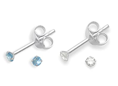 Heather Needham Silver Set of 2 PAIRS Sterling Silver Cubic Zirconia stud Earrings - SIZE: TINY 2mm - Very Small & discreet. 5549CL/B41 FsYUl