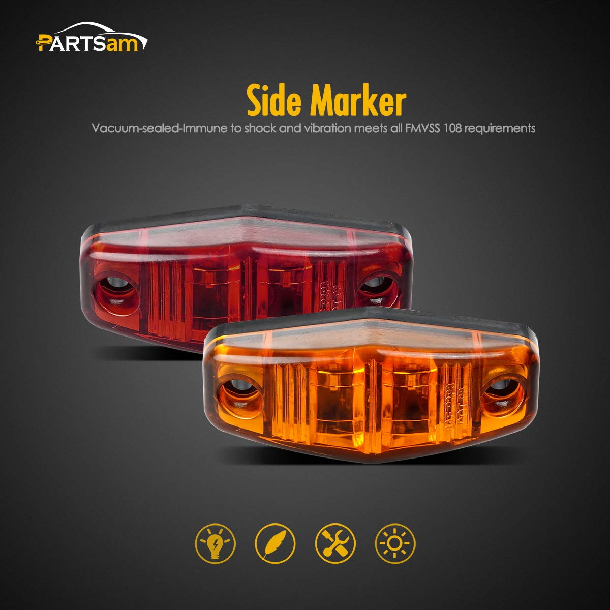 Partsam Trailer Light Complete Kit Utility Rv 12v Wiring Flat Four Pole Connection Brake Turn Stop Tail Side Marker Assembly 2pcs 6 Oval Red Lights 10