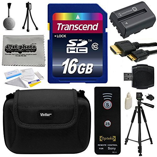 Must Have Accessories Bundle Kit for Sony Alpha A57, A58, A65, A77, A99, A100, A200, A300, A350, A450, A500, A550, A560, A580, A700, A850, A900 includes 16GB Class 10 SDHC Memory Card + Replacement (1800mAh) NP-FM500H NP-FM500 Battery + Professional 60