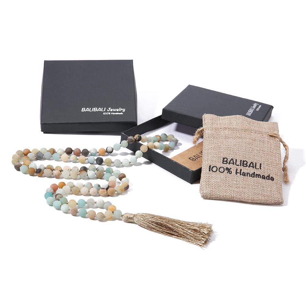 BALIBALI 8MM Beads Chakra Long Mala Necklace Natural Stone Meditation Statement Necklace Japa Yoga Rosary Prayer Charm Beaded Tassel Necklace (8mm Amazonite(108pcs)) by BALIBALI