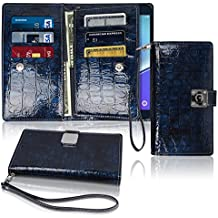 Note5 Wallet Case, Glossy [ 9 Pockets ] for 6 ID / Credit Card 3 Cash Slots, Power Magnetic With Wrist Strap For Samsung Galaxy Note 5 Leather Cover Flip Diary (Blue)