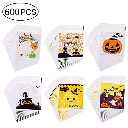 YJShop 600 bolsas de caramelos autoadhesivas para Halloween ...