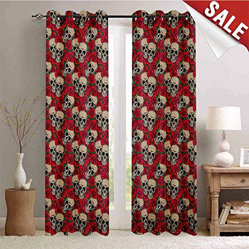 Flyerer Rose, Room Darkening Wide Curtains, Graphic Skulls and Red Rose Blossoms Halloween Inspired Retro Gothic Pattern, Waterproof Window Curtain, W108 x L96 Inch Vermilion Tan Green -