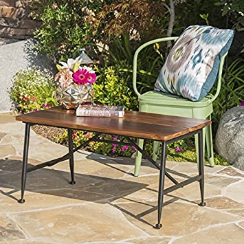 Modern Patio Coffee Table With Sleek Industrial Look, Iron Accents, Smooth  Finish, Outdoor