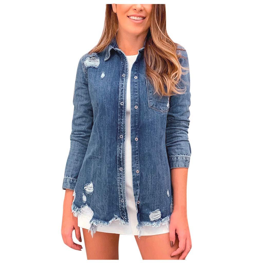 Women's Oversize Vintage Washed Boyfriend Denim Jacket Long Sleeve Classic Loose Jean Trucker Jacket by Dunacifa Women Outwear
