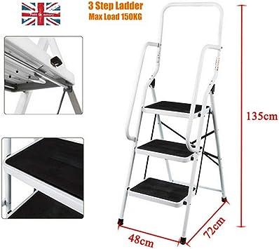 Escalera plegable de 3 peldaños de hierro resistente, escalera ancha, antideslizante, con barra de seguridad de 150 kg de carga: Amazon.es: Bricolaje y herramientas