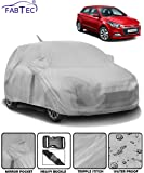 Fabtec Waterproof Car Body Cover for Hyundai Elite i20 with Mirror Antenna Pocket (Full Sized, Triple Stitched, Fully Elastic) (Light Grey)