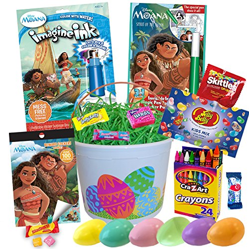 Moana Easter Basket 18pc Kit, Easter Eggs, Jelly Beans, Easter Candy, Moana Coloring Book Magic Ink, Moana Invisible Ink Activity Book, Moana Maui Reward Sticker Book, Crayons, Easter Grass and More