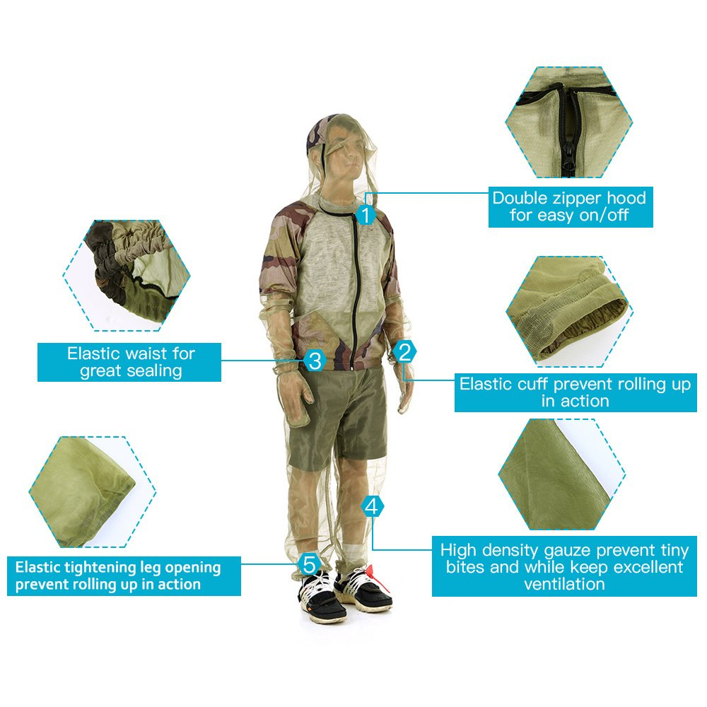 Lixada Mosquito Suit,Repellent Bug Jacket Mesh Hooded Suits Ultra-fine Mesh Insect Protective with Shirt Gloves Pants TZO1619629677435RI