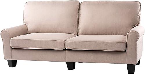 BAHOM 70 Indoor Futon Loveseat Sofa, 2 Seats Sofa Bed for Living Room, Bedroom, Office, Thick Sponge Stuffed, Beige