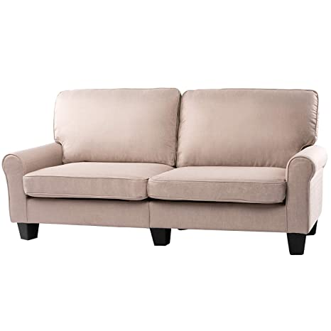 "BAHOM 70"" Indoor Futon Loveseat Sofa, 2 Seats Sofa Bed for Living Room, Bedroom, Office, Thick Sponge Stuffed, Beige"
