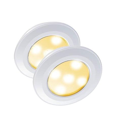 VIPMOON Luz de Noche con Sensor de Movimiento,2 Pack 5-SMD 3528 LED Touch-Activado Tap luces,batería-Powered Stick-on en cualquier lugar Paso pared ...