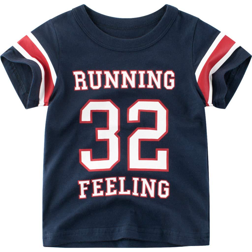 Midress Summer Newborn Kid Baby Boy O-Neck Letter Print T Shirt Tops Base Shirt Clothes