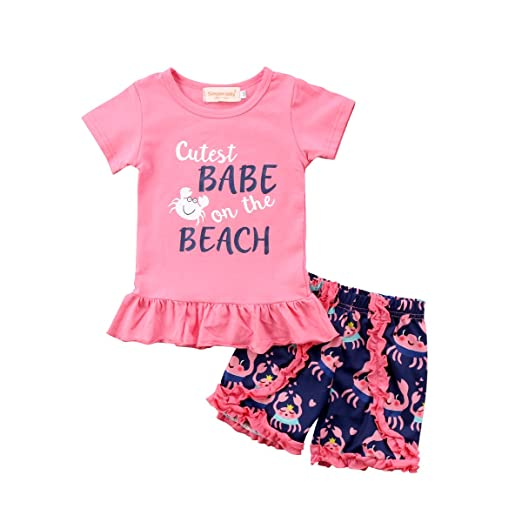 e60d4d31cf6 Amazon.com  Aliven 2Pcs Set Toddler Kids Baby Girl Summer Short Sleeve  T-Shirt Tops + Floral Short Sets Outfits Clothes  Clothing