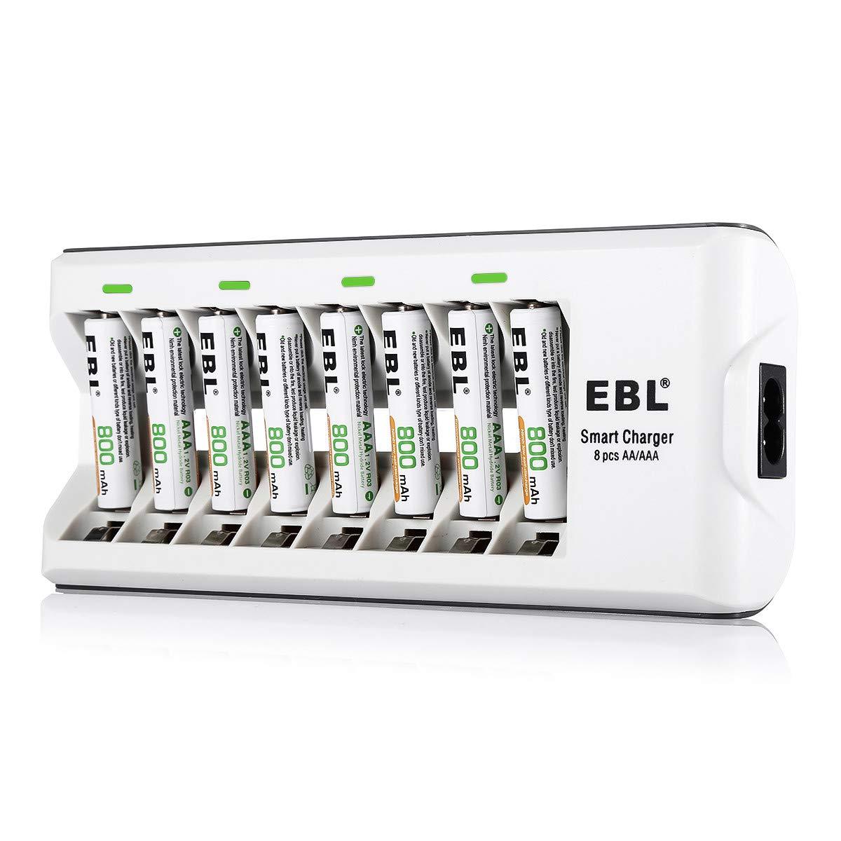 EBL 8-Fach Akku Ladegerät für NI-MH AAA AA Akku, Batterieladegerät inkl. 8X AAA Akku 1100mAh, Akkus mit 2X Aufbewahrungsbox