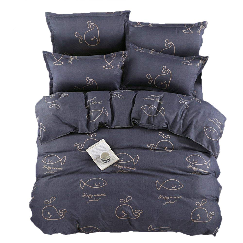 no!no! Cartoon Full/Queen Size Duvet Sets Stick Drawing Whale Printed for Children Boys with Hidden Zipper Closure Comforter Cover Ultra Soft Cozy Hypoallergenic Microfiber Navy Blue (3pcs) NTHQ