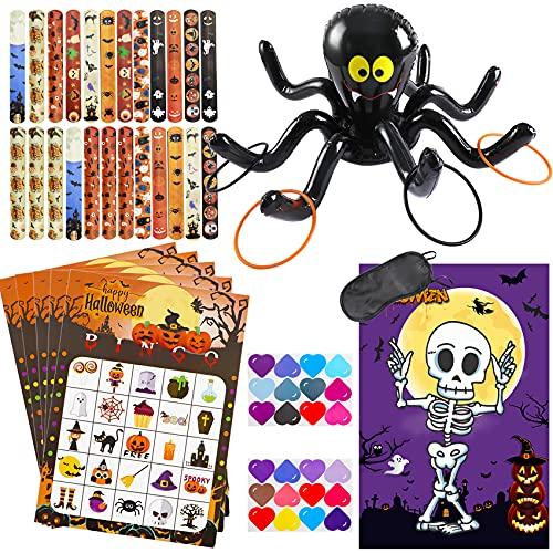 Halloween Party Games Supplies with Ring Toss Game Prize Inflatable Spiders Slap Bracelet 24pcs Halloween Bingo Game Pin Game for Kids Halloween Party Favors Indoors Outdoors Party Game