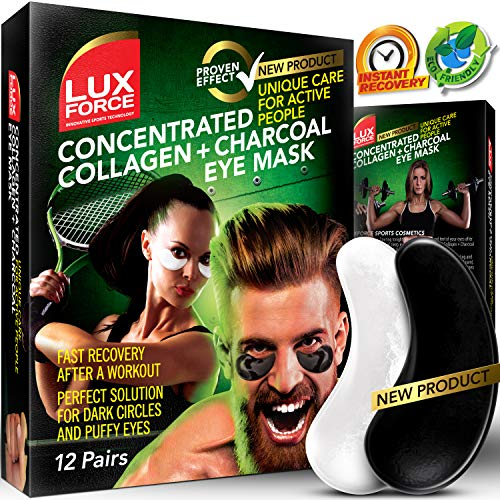 Under Eye Mask Charcoal Collagen Eye Mask Sports Under Eye Pads Anti-Aging Hyaluronic Acid Eye Patches Gel Eye Patch for Moisturizing & Reducing Dark Circles Puffiness Wrinkles Crow's -