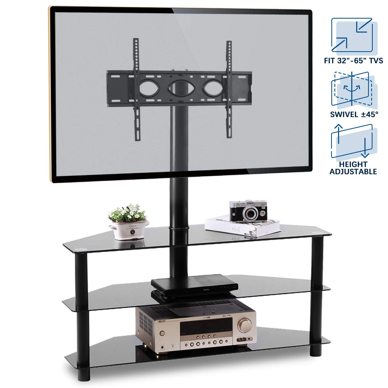Rfiver Corner Floor TV Stand with Swivel Mount for Most 32''-65'' LED, LCD, OLED and Plasma Flat or Curved Screen TVs, Height Adjustable 3-in-1 Entertainment Stand in Black, TW2002 by Rfiver