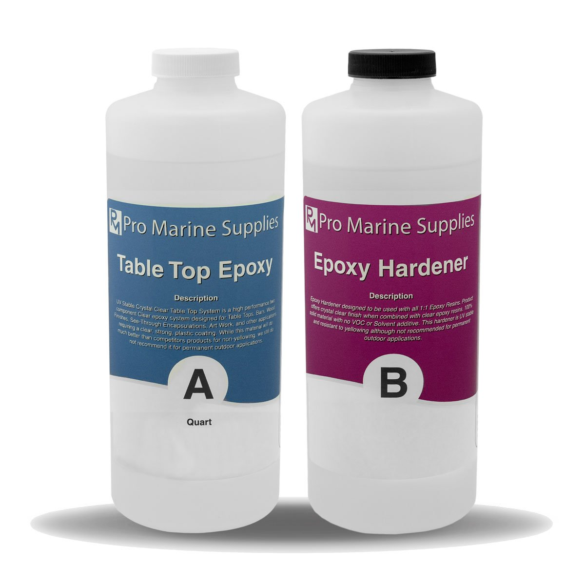 Crystal Clear Bar Table Top Epoxy Resin Coating For Wood Tabletop - 2 Quart Kit by Pro Marine Supplies (Image #1)
